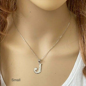 925 Sterling Silver Initial Letter T Pendant Necklace - Large, Medium, Small D/C