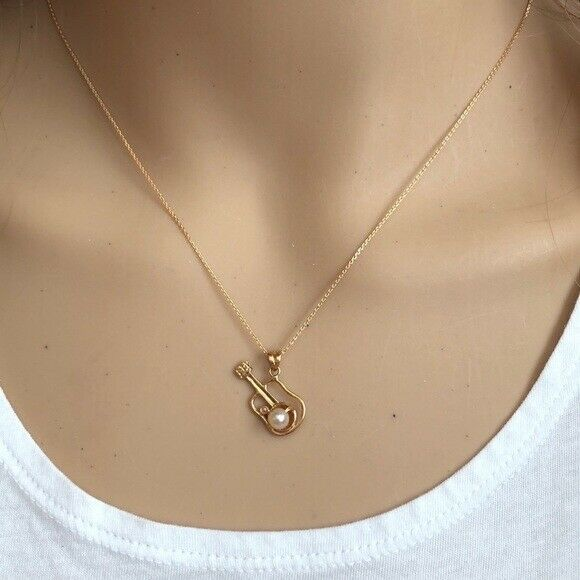 "14K Solid Gold Small Pearl Guitar Music Pendant /Charm Dainty Necklace 16"", 18"""
