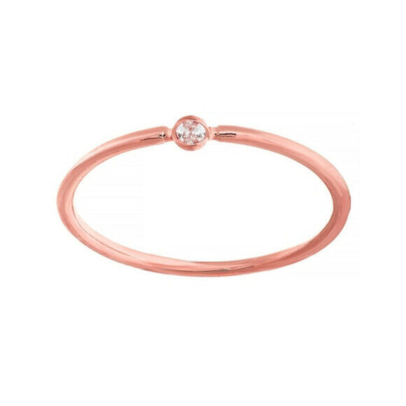 14K Solid Rose Gold Round Diamond Dainty Ring Size 6, 7, 8 - Minimalist Stakle