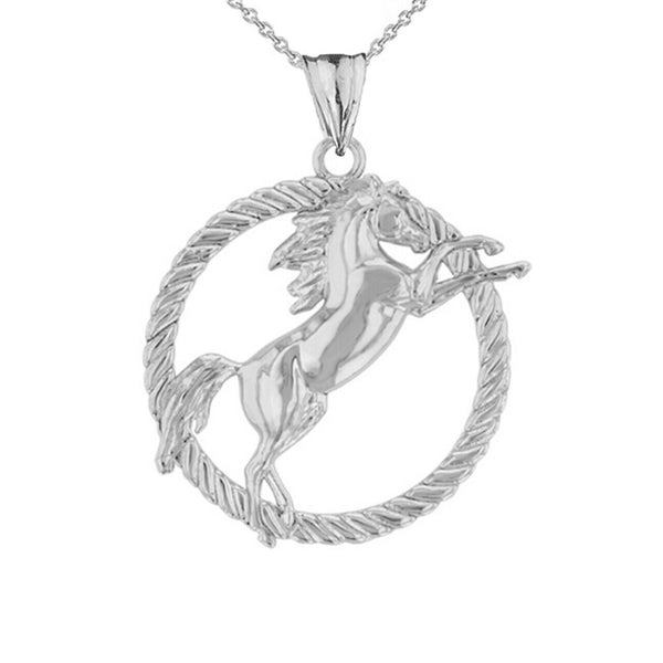 Stallion Horse Rope Pendant Necklace in 925 Genius Sterling Silver Made In USA