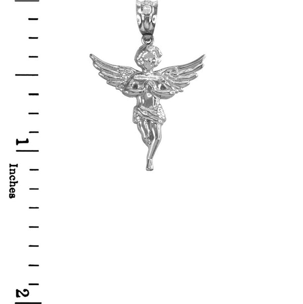 925 Sterling Silver Textured Angel Praying Hands Wings Pendant Necklace Made USA