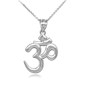 925 Sterling Silver OM (OHM) Symbol Pendant Necklace Made in US
