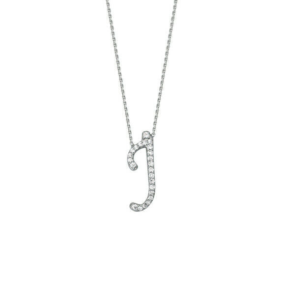 "925 Sterling Silver CZ Initial Letter J Necklace Adjustable 16""-18"" All Letter"