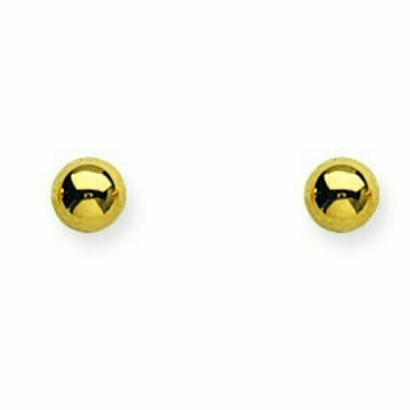 14K Solid Gold Mini Ball Stud Earrings 6 mm, 7 mm, 8 mm Yellow, Rose, White