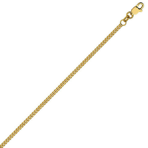 "14K Solid Gold Simple Chain Ankle Bracelet Anklet -Yellow 9""-10"" Adjustable"
