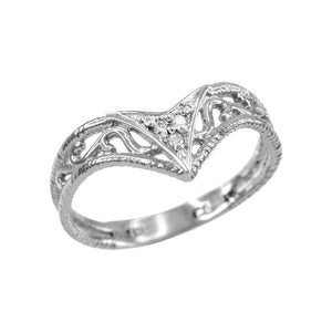 925 Sterling Silver Handcrafted Fine Women's Cutout Filigree Chevron CZ Ring
