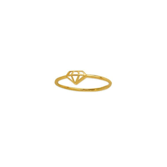 14K Solid Gold Diamond Shape Cut Out Dainty Ring -Yellow Size 6, 7, 8 Minimalist