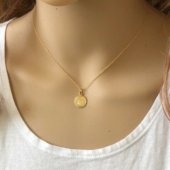 "14K Solid Gold Small Disk Engraved Goat Pendant Dainty Necklace 16""-18"""