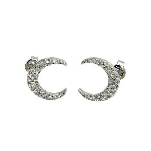 Sterling Silver 925 Rhodium Plated Crescent Moon Stud Earrings with CZ