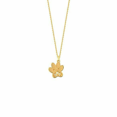 "14K Solid Yellow Gold Diamond Mini Paw Print Adjustable Necklace 16""-18"""