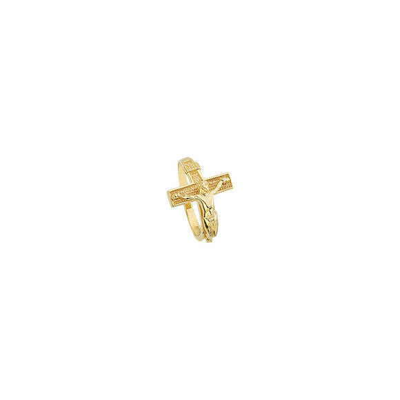 14K Solid Gold Cross Crucifix Religious Ring - Size 6, 7, 8 - Yellow