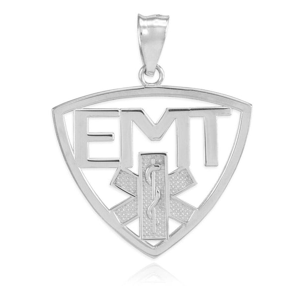 Sterling Silver EMT Emergency Medical Technician Star of Life Pendant Necklace