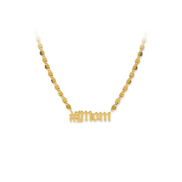 14K Solid Gold Hashtag #1 Mom Valentino Chain Necklace - Mother Day Gift