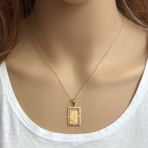 14K Solid Gold Chinese Letter Symbol for Luck Pendant /Charm Dainty Necklace