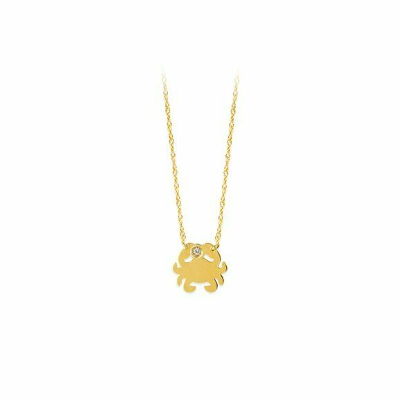 "14K Solid Yellow Gold Mini Diamond Crab Dainty Necklace - Minimalist 16""-18"""
