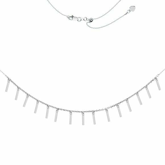 Sterling Silver 925 Fashion 15 Dangle Bar Dangle Drop Adjust Choker Necklace