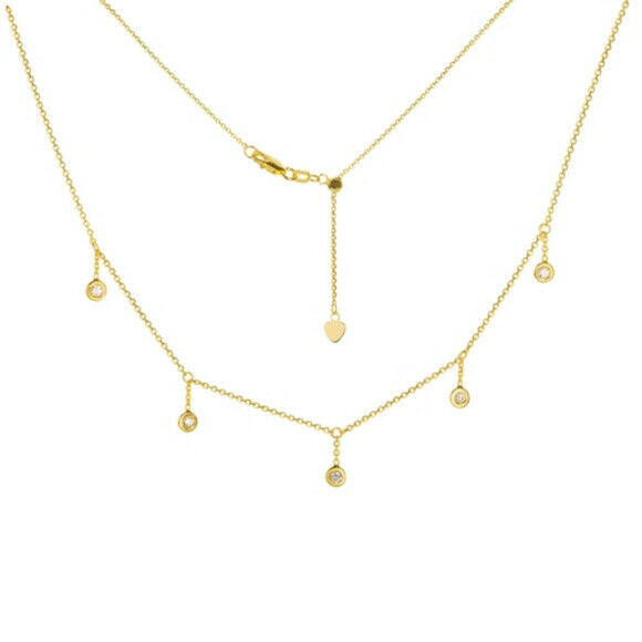 "14K Solid Yellow Gold Round Bezel Drop Dangle Choker Necklace 16"" Adjustable"
