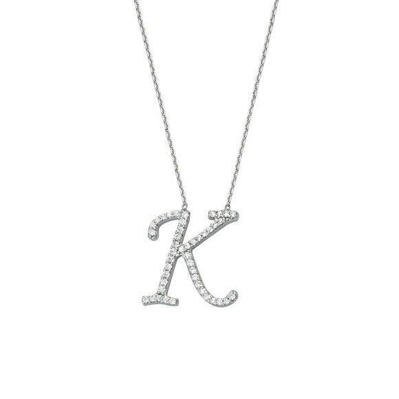 "925 Sterling Silver CZ Initial Letter K Necklace Adjustable 16""-18"" All Letter"