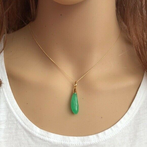 "14K Solid Gold Egg Plant Jade Pendant Necklace many length Chain16"" 18"" 20"""