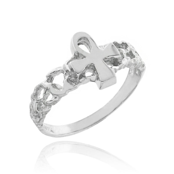 925 Sterling Silver Ankh Cross Nugget Ring Unisex Ring - Any Size - Made in USA