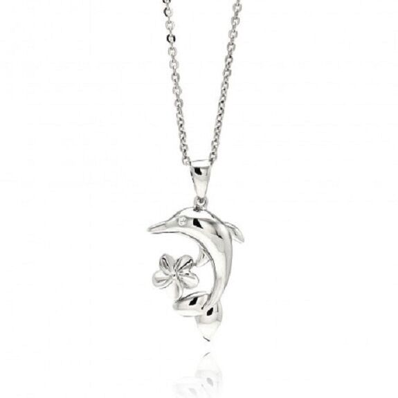 "925 Rhodium Plated Brass Dolphin Flower Clear CZ Pendant Necklace 16""-18"""