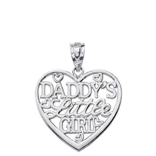925 Sterling Silver Daddy's Little Girl Heart Pendant Necklace Made in USA
