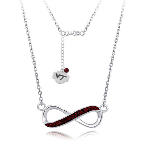 Virginia Tech Infinity Crystal Necklace - Fine Sterling Silver Licensed VT
