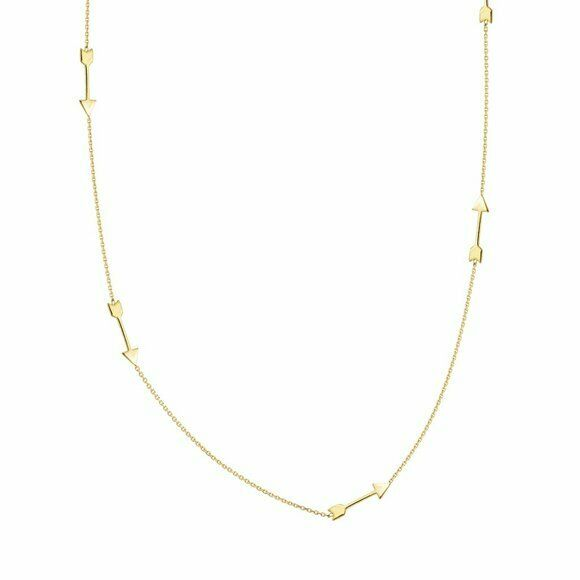 "14K Solid Gold 6 Arrow Station Necklace - 16""-18"" adjustable - Yellow"