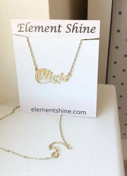 NWT Personalized Gold over Sterling Silver Name Plate Necklace - Olivia