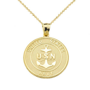 Solid Gold US Navy Insignia Coin Pendant Necklace Made In USA two/ Double sided