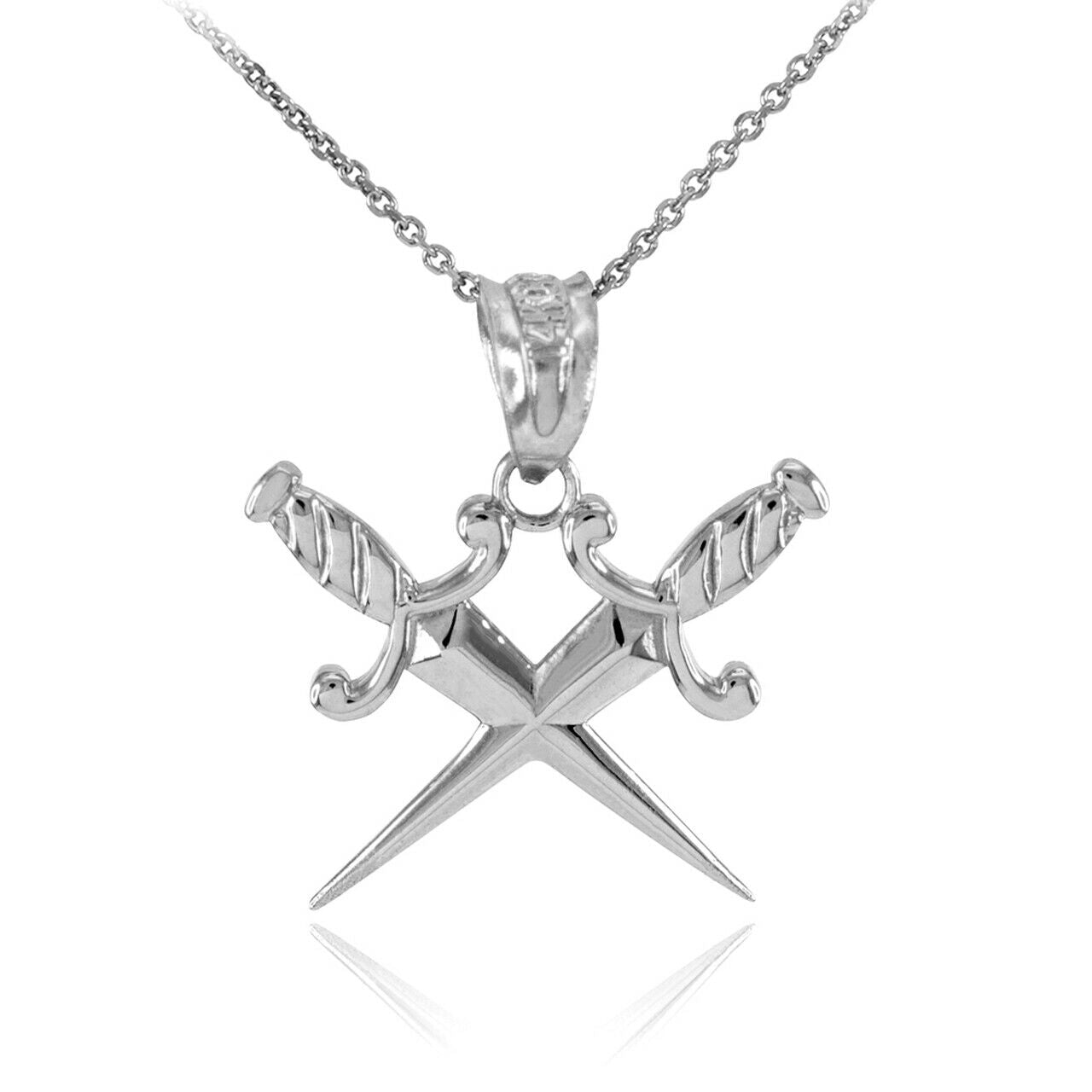 "925 Sterling Silver Double Crossed Daggers Pendant Necklace 16"" 18"" 20"" 22"""