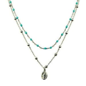 925 Sterling Silver Double Chain Medallion Charm Turquoise Beads Necklace Italy