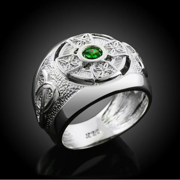 NWT 925 Sterling Silver Celtic Emerald Green CZ Men's Ring Any Size Made in USA