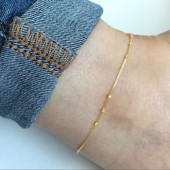 "14K Solid Gold Triple Cube Saturn Dainty Anklet - Yellow 9""-10"" Adjustable"