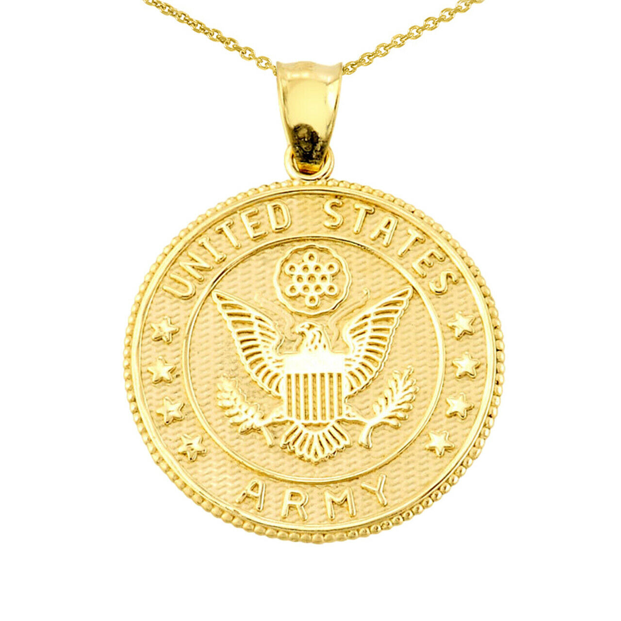 US Army Solid Gold Coin Pendant Necklace Made In USA two / Double sided