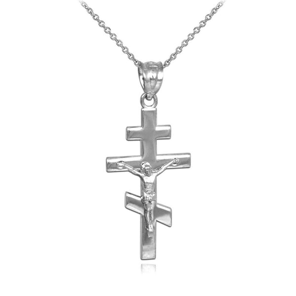 925 Sterling Silver Russian Orthodox Crucifix Pendant Necklace Made in USA