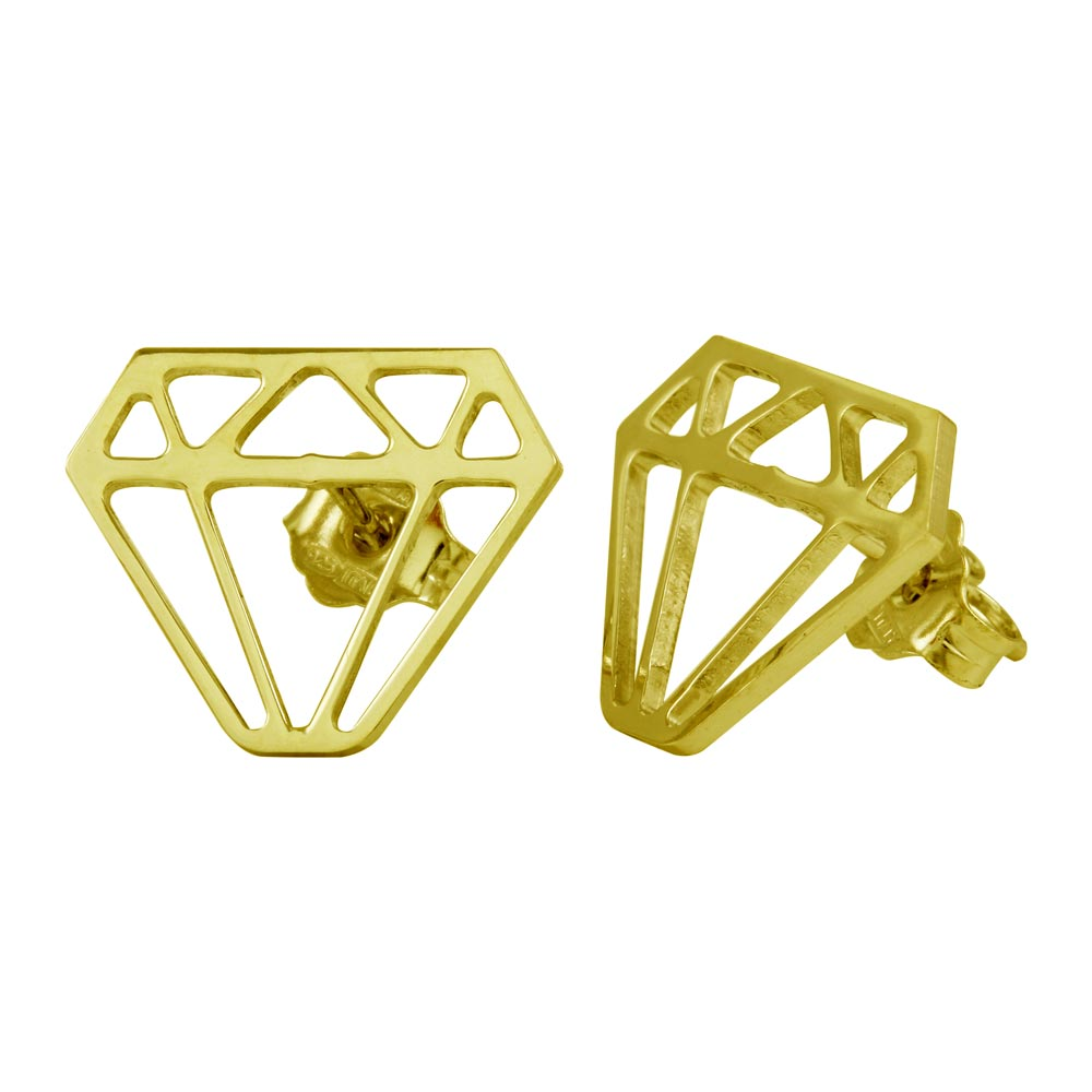 Sterling Silver 925 Gold Diamond Cut-out Stud Earrings