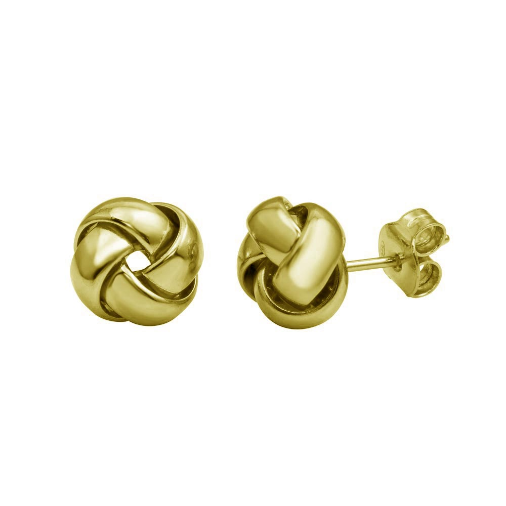 Sterling Silver 925 Gold Small Love Knot Stud Earrings