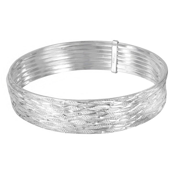Sterling Silver 925 High Polished Diamond Cut Semanario Bangle Bracelet