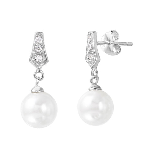 Sterling Silver 925 Rhodium Plated CZ Dangling Pearl Post Earrings