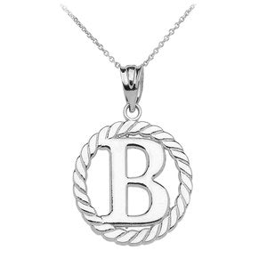 "Sterling Silver ""B"" Initial in Rope Circle Pendant Necklace"