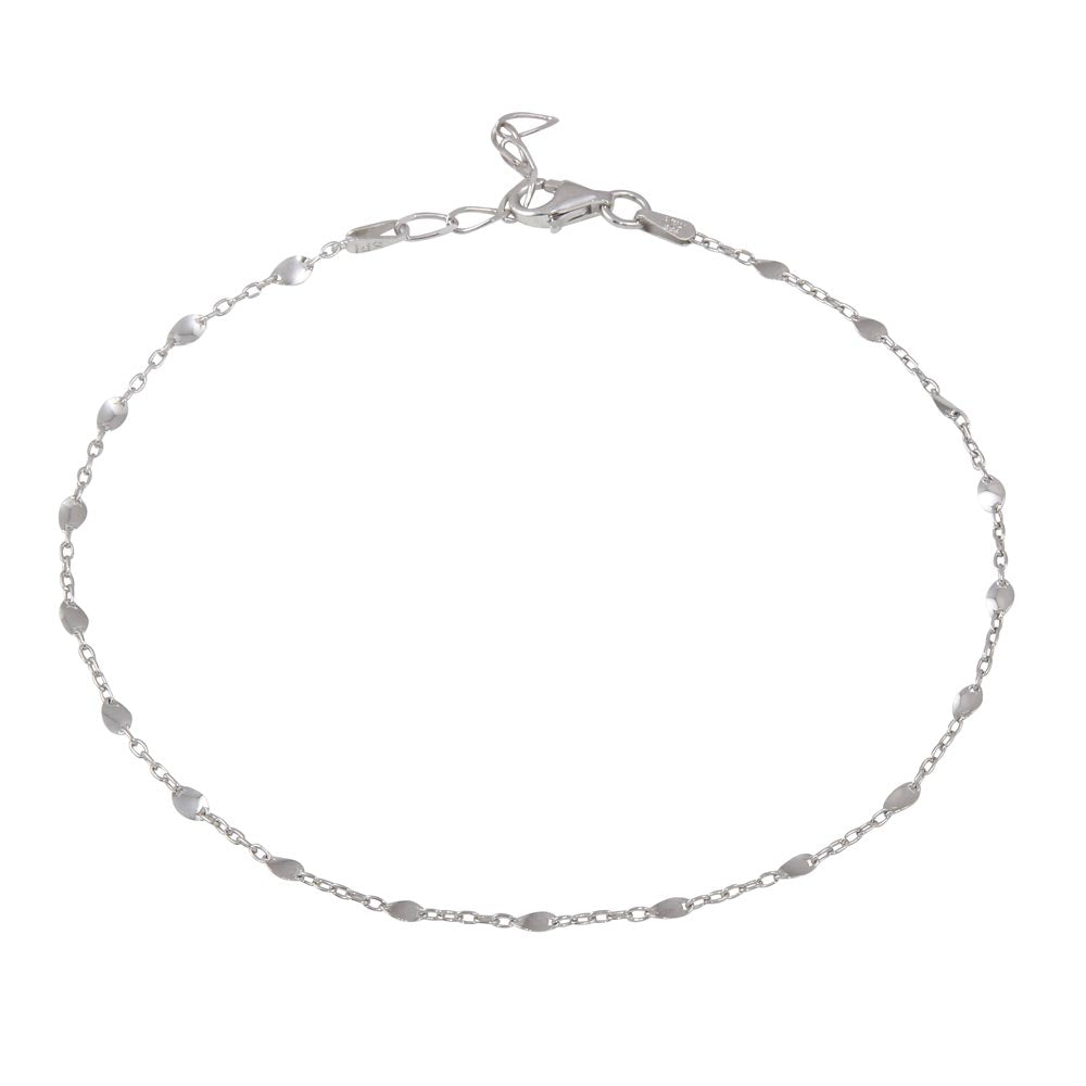 925 Sterling Silver Rhodium Plated Twisted Disc Link Anklet
