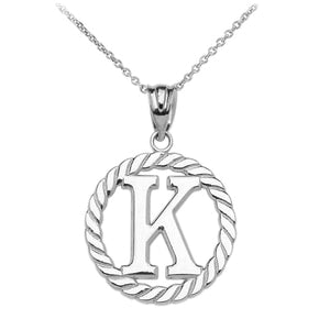 "Sterling Silver ""K"" Initial in Rope Circle Pendant Necklace"