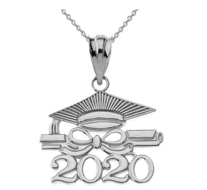 Sterling Silver Class of 2020 Graduation Diploma & Cap Pendant Necklace
