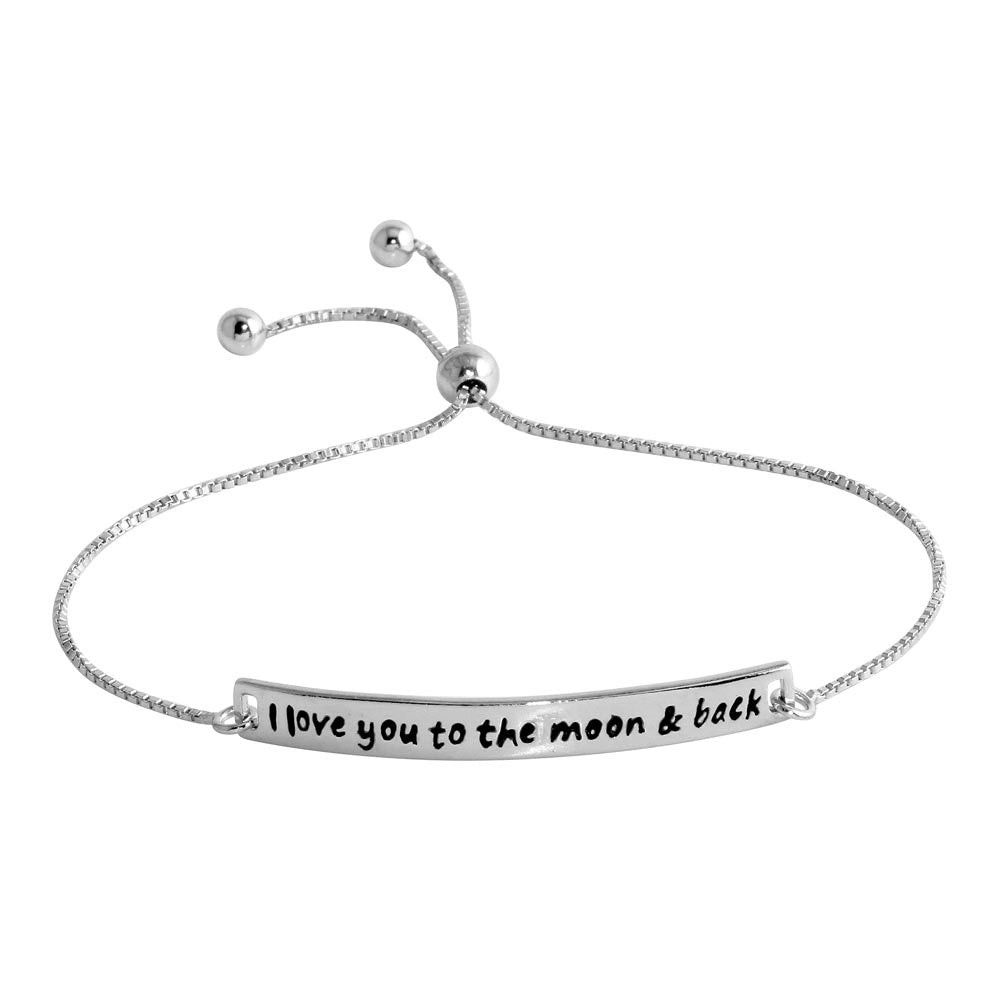 925 Sterling Silver Rhodium Plated Engraved Curved Bar Lariat Bracelet