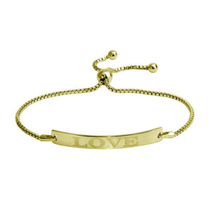 "Sterling Silver 925 Gold Plated ""Love"" Bar Lariat Bracelet"