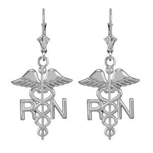 Sterling Silver Medical Registered Nurse Earrings