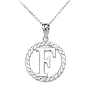 "Sterling Silver ""F"" Initial in Rope Circle Pendant Necklace"