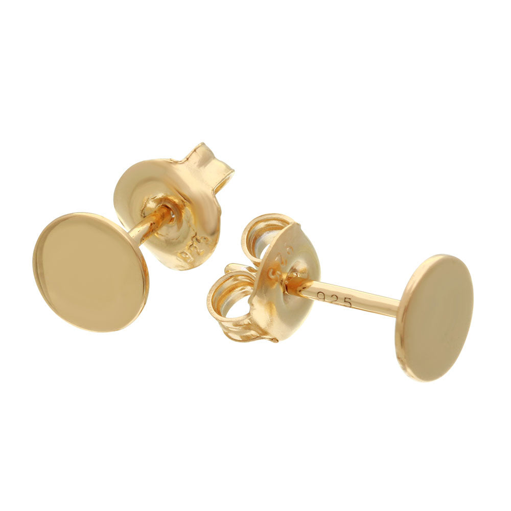 Sterling Silver 925 Gold Plated Dics Stud Earrings