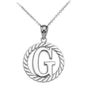 "Sterling Silver ""G"" Initial in Rope Circle Pendant Necklace"